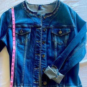 rhinestone-embellished denim jacket